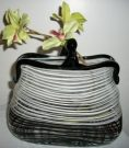 Vase, White & Black Purse, Glass-Acc097