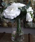 PL13-White Roses in gel, glass vase
