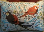 TC22-Toss Cushion, Blue/Orange, Birds