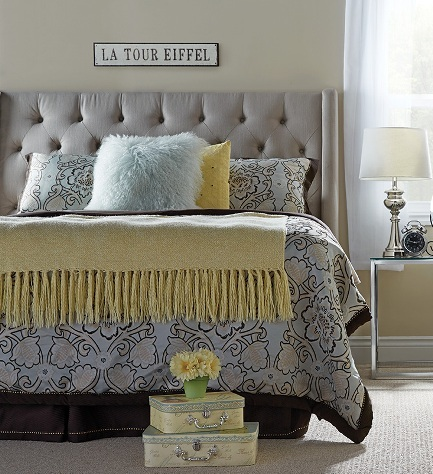 Bm07 Queen Taupe Tufted Winged The Rental Dept