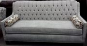 SF12-Sofa, Silver Grey, Tufted w/nailhead