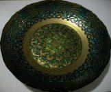Bowl/Platter, Teal & Gold-Acc024