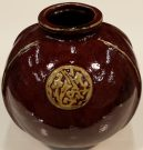 Vase, Asian, Red & Tan-Acc065