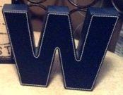 "Decorative ""W"" Black Leather-Acc036"