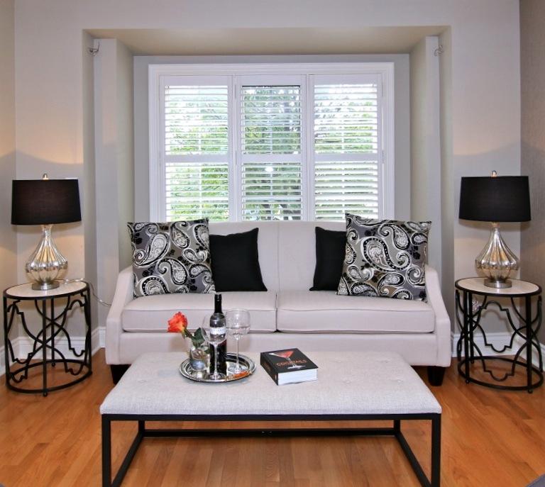 House Staging Rental Furniture: OT37-Black Trellis Base, W/marble Top
