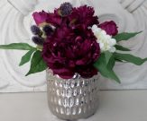 PL35-Purple bouquet, chrome pot
