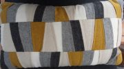 TC87-Felt Cushion, Grey/Cream/Mustard