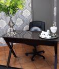 OD06-Espresso X-base desk, Grey Top