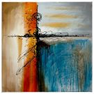 A127-Sections Abstract, Orange/Teal
