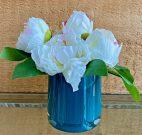 PL51-White Bouquet, Teal Vase