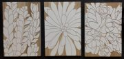 A012-Triptych, Wooden Botanical panels