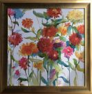 A131a-Abstract Flowers, Gold Frame