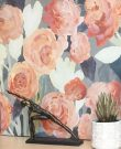 A131b-Abstract Flowers, Coral & Grey Canvas
