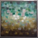 A133-Teal/Green/Yellow Squares, Framed Canvas