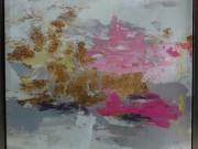 A134-Femme, Pink & Gold, Framed Canvas