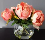 PL27a-Coral Flowers in gel, glass round vase