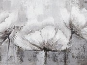 A118a-Grey & White Canvas, 3 Flowers