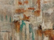 A146-Abstract Canvas, Rust/Teal/White, LRG