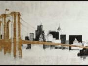 A143b-Skyline Bridge, Contemporary, Black & Gold