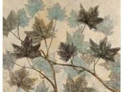 A01e-Aqua Leaves, Textured Canvas