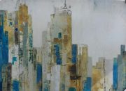 A100b-Cityscape, Blue & Gold Canvas