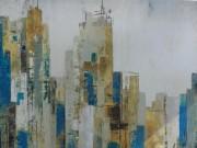 A100b-Cityscape, Blue & Gold Canvas