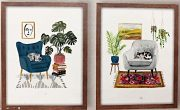 A103-Set of 2, Cats on a chair, framed