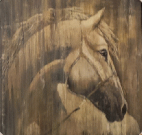 A119-Stallion Profile, Taupe, Framed