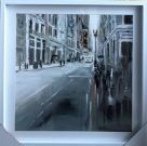 A103a-White Framed, Abstract Streetscape