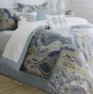 BK01-King Comforter Set, Blue & Tan Paisley