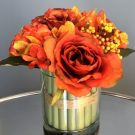 PL14a-Autumn Orange Bouquet, Glass Vase