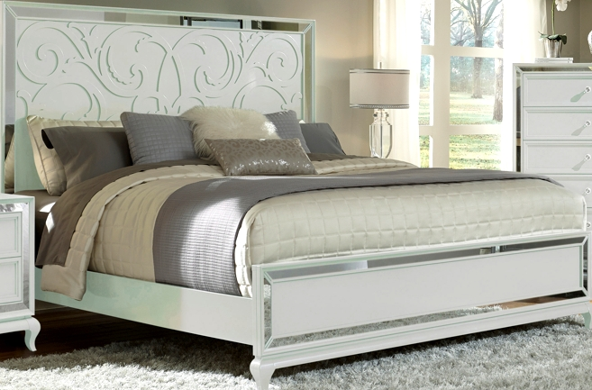 Bm06 queen bed white mirror frame the rental dept for Home style furniture hamilton