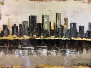 A144-Modern Skyline, Grey/Charcoal/Gold