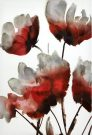 A129a-Red/Grey/White Floral, Textured Canvas