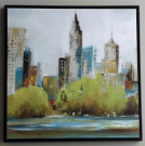 A100a-Cityscape, Lime Green & Blue