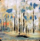 A109a-Coral & Blue Abstract Forest, 1 of 2