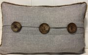 TC41b-Grey Linen Lumbar, Jute Piping