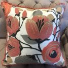TC68-Coral & Grey Embroidered Flowers
