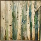 A135-Birch Tree Forest, Blue & Green