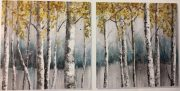 A135a-Set of 2, Birch Forest, Steel Blue/Yellow
