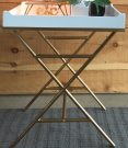 OT58-White Tray Table w/Gold legs