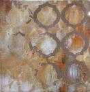 A147-Orange & Gold Trellis, Canvas
