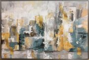 A07a-Abstract Cityline, Yellow & Teal Framed