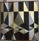 A143c-Black & Gold Abstract, Diamonds