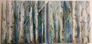A51e-Pr. of Birch Tree Canvasses, Blue/Green