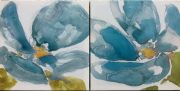 A51b-Set of 2, Canvas Blue Abstract Flowers