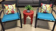 PT13-Set of 2, Black Metal Chairs w/cushions