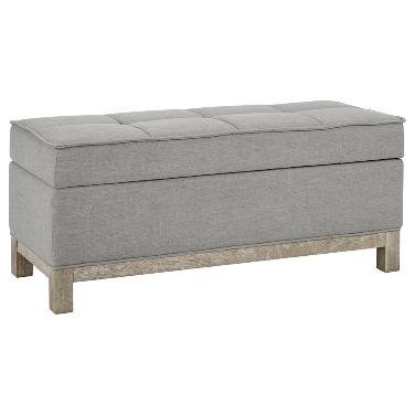 Ob01a dove grey storage bench the rental dept Model home furniture rental