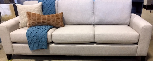 Sf25 beige linen full size sofa the rental dept Model home furniture rental
