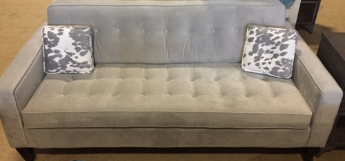 Sf26 silver grey velvet buttontufted back seat the rental dept Model home furniture rental